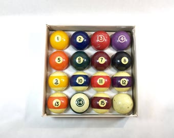 Vintage Pool Balls Billiards Table Game of Pool Complete Set of 16 in Box Distressed Decor