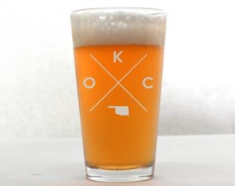 OKC Glass | OKC Pint Glass - Beer Glass - Pint Glass - Beer Glasses - Pint Glasses - Beer Mug - Oklahoma City