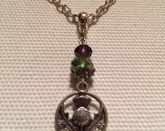 Scottish Thistle Tibetan silver and Crystal Thistle silver plated necklace