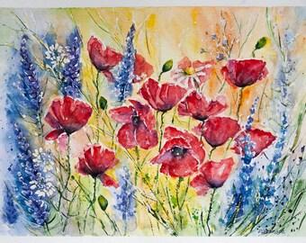 Poppy fields, Poppy Watercolor, Wedding gift, anniversary gift, Poppy painting, watercolor, Poppies painted, Original Watercolor Painting