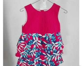 SALE Baby girl dress in pink with flounces in pink blue