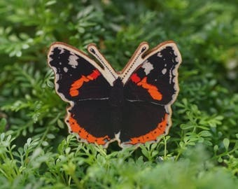 Red Admiral Butterfly wooden brooch/badge