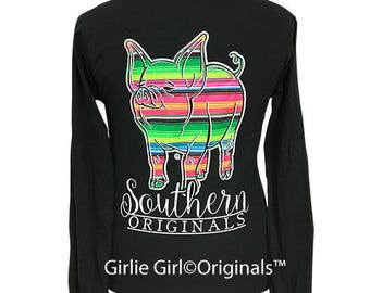 Girlie Girl Originals Serape Pig Black Long Sleeve T-Shirt