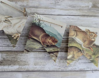North American Forest Animals Paper Bunting Banner Pennant Garland
