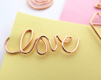 Love Planner Paper Clips Rose Gold Paper Accessories Page Marker