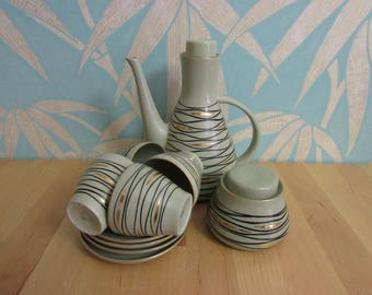 Mid-century Pruszkow, Poland taupe coffee set with black undulating lines & gilt accents