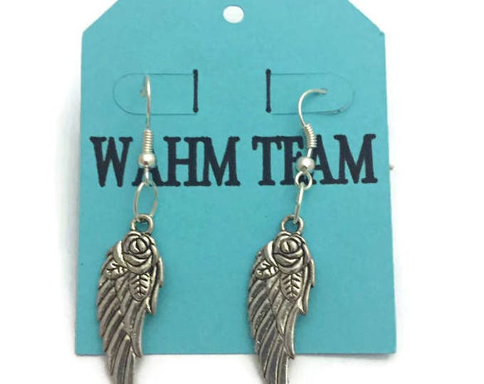 Angel Wing Earrings, Angel Wing Earrings with Leather, Silver Plate Earring Wires, With Backings