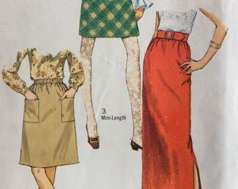 Simplicity 7764 misses skirt in three lengths waist 27 vintage 1960's sewing pattern  Uncut  Factory folds