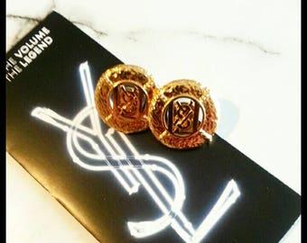 New studs made of authentic YSL buttons. (Jewellery set)