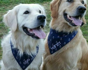 Nautical Navy and Pink Pet Bandana || White Anchors Pink Chevron || Add Pets Name || Classic Tie Dog Pupdana || Puppy Gift