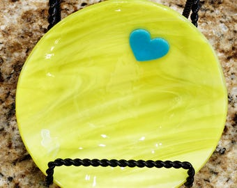 Stained glass fused dish, fused yellow bowl with blue heart, Anniversary gift, Wedding gift, Valentine's Day gift, ring dish, change dish