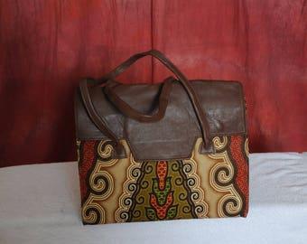 Brown African Printed Handbag