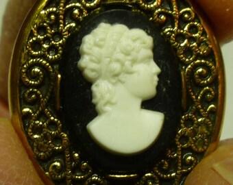 L34 Vintage Robbins Co. Attleboro Marked Cameo Pin.