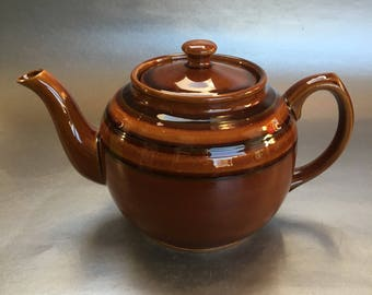 Rare 5 Cup Classic Vintage Green Striped  Brown Betty Sadler Teapot England Chipped spout