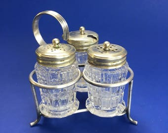 Elegant Antique Silverplate & Crystal Salt and Pepper Shakers Condiment Server