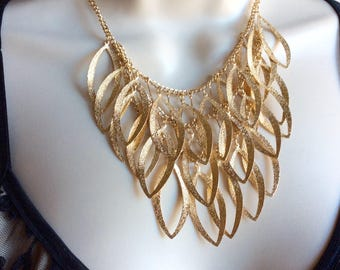 Gold necklace, bib necklace