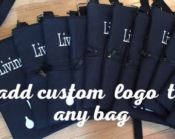 Logo bags, Custom bags, advertising material, marketing material, cosmetic bags, Cross body bags, custom embroidery, promotional bags