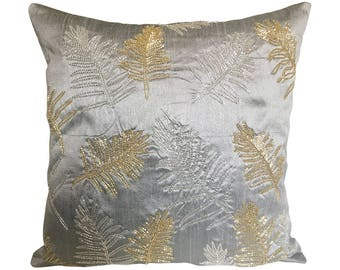 Silver Grey Accent Pillow Cover, Leaf Embroidery Pillow Cover