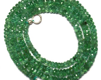 Natural Gemstone Rare Apple Green Color Kyanite 4 to 5MM Faceted Rondelle Beads 18 Inch Full Strand Fine Quality Beads Finished Necklace