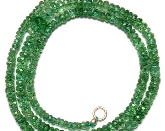 Natural Gemstone Rare Apple Green Color Kyanite 4 to 6MM Faceted Rondelle Beads 17.5 Inch Full Strand Fine Quality Beads Finished Necklace