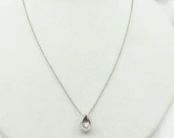 "Say ""I Love You"" With This Small 14K White Gold Diamond Encrusted Tear Drop Pendant. Includes 20"" 14K White Gold Chain  #TEARDROP-GLC"