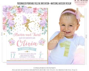 Fairy Invitation Fairy Birthday Invitation Whimsical Enchanted Pixie Invitation Magical Fairy Invite Fairy Birthday Party Floral Fairy FF1