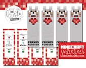 Valentine's Day Minecraft Bookmark Valentines, Digital File, Instant Download
