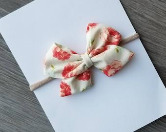 Big sailor bow, floral sailor bow,  fall bows,  sailor bow,  coral floral bow,  baby headband,  nylon headband