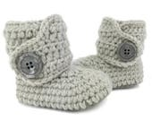 Baby Walking Shoes, Soft Sole Leather New Walkers, Gray Gender Neutral Baby Boots, Crochet Newborn Booty, Grey Unisex Booties, Infant Boot