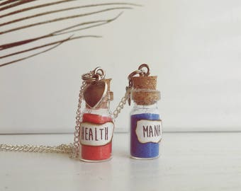 Gamer Necklaces- Health and Mana- Gaming- Gamer- Lol- League of Legends- Gamer Gift- His and Hers- Geek- Nerd Couple
