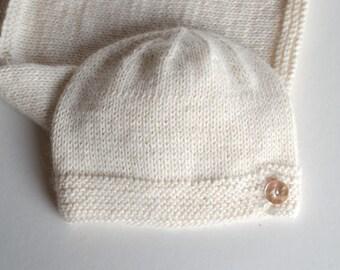 Baby Alpaca beanie - Natural organic baby alpaca hat with button