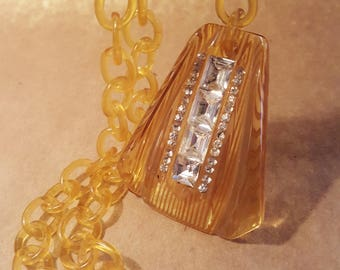 Art Deco Reverse Carved Bakelite Apple Juice Necklace With Channel Set Baguette Rhinestones