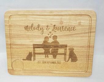 Couple on a Bench Custom Cutting Board, Personalised Chopping Board, Personalised Cutting Board, Custom Chopping Board, Housewarming Gift