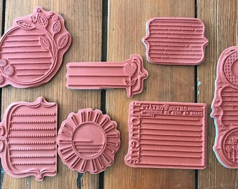 Retired Set of 7 Unity Stamp Co. Rubber Cling Journaling Block Stamps