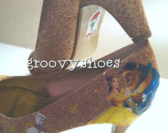 Beauty and the beast low heels ladies mid heels gold glitter heels rose gold