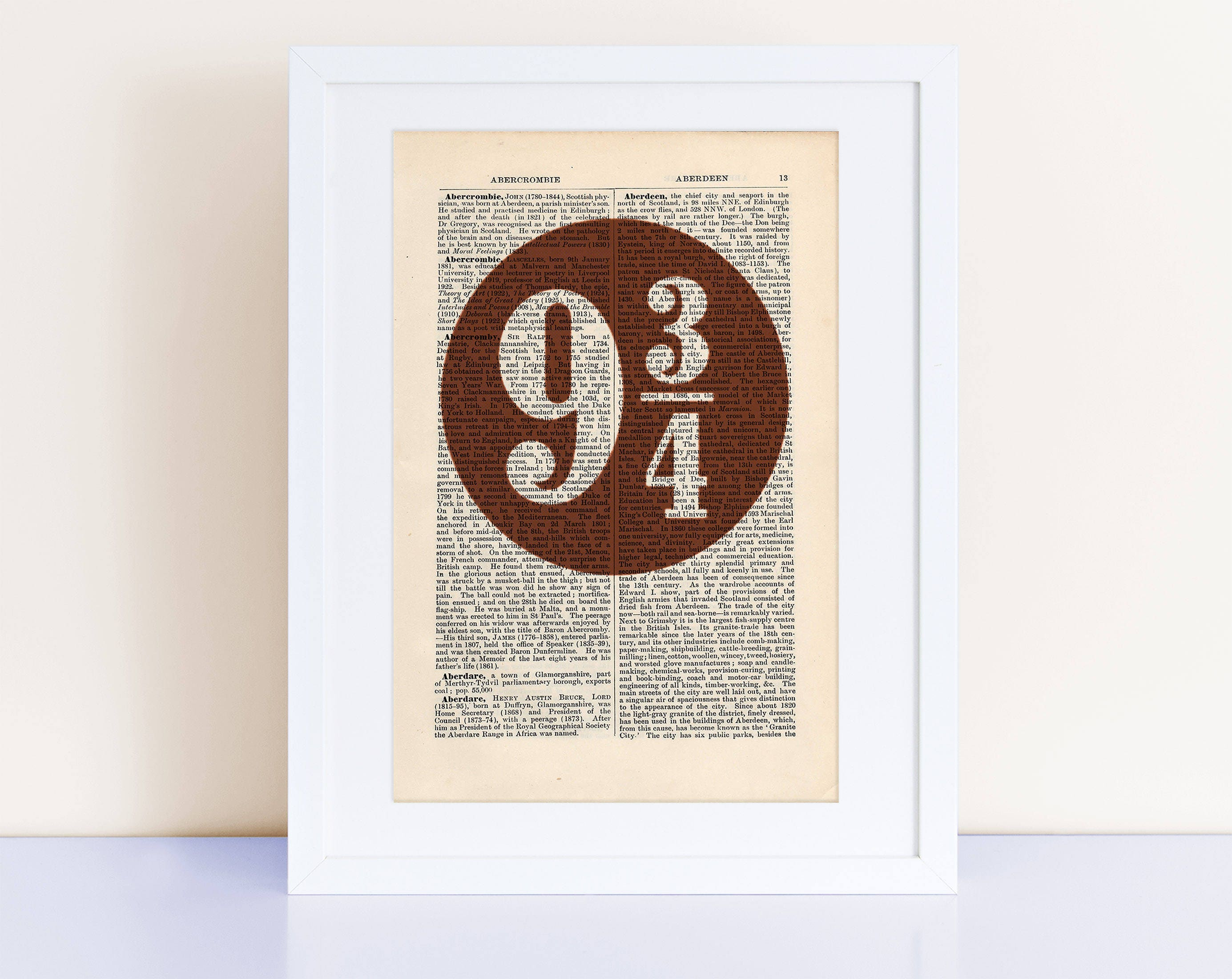 9 3 4 Poster On A Vintage Encyclopedia Page Home Decor Wall