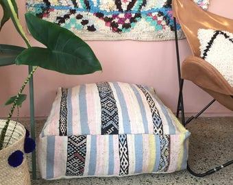 Handmade and unique pastel kilim Moroccan pouf,poef,osmane,puff,ottoman,foot stool,floorpillow