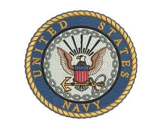 US Navy Embroidery Design in 3 Sizes - INSTANT DOWNLOAD