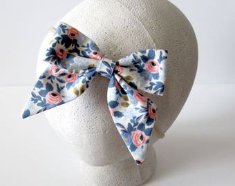 Sailor Bow || Perwinkle Rifle Paper Co Fabric Bow || Printed Bow ||Girls Bow - Baby Bow - Toddler Bow - Newborn Bow - nylon elastic headband