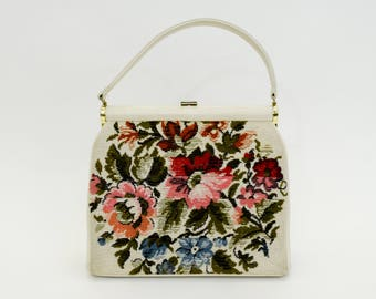 50s Creme Upholstery Bag   Flowered Needlepoint Upholstery Hand Bag   JR Florida