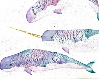 Narwhal print illustration-watercolour-atk collective- attack collective-kids room decor-whale art-save the whales