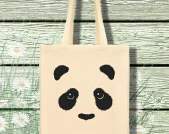 Printed Panda Cotton Tote / College / Shopper / Gift Bag