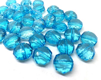 Light Blue Translucent Beads, 17mm Faceted octagon round Bead, teal beads, Jewelry Making, Wire Bangles, turquoise beads, blue jewelry, sky
