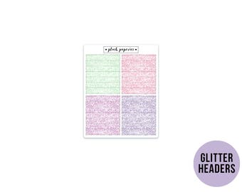 GLITTER HEADERS   Spring Blossoms   Planner Stickers    Add on   Matte