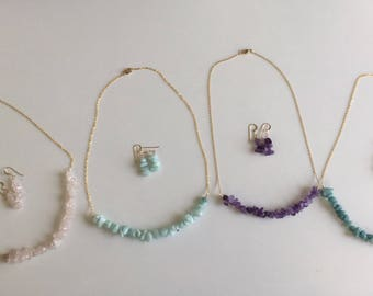 Amethyst - Rose Quartz - Aqua - Turquoise Half Gemstone Necklace and Earring Set
