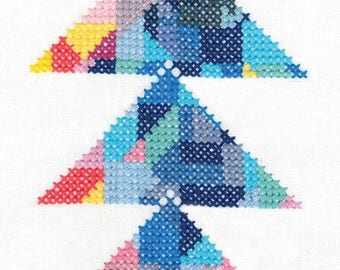 DMC Geometry Rules Printed Embroidery Kit - Triangulation - ideal for beginners