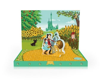 Oz  Musical Greeting Card for Birthday Adventures with Dorothy, Twirling Tin man lion and Scarecrow were off to see the Wizard