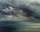 Huile sur bois encadrée / Oeuvre unique et originale de Geraldine Theurot / Marine / Ocean / Ciel / Nuages / Paysage