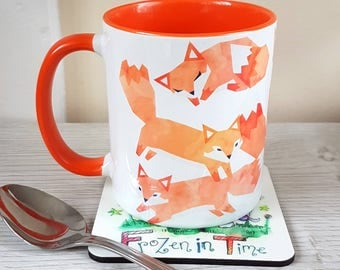 Watercolour Fox mug Coffee Mug Cute coffee mug Tribal decor Arrow Ceramic 11oz mug Mugs Animal Mug Gift for him or her