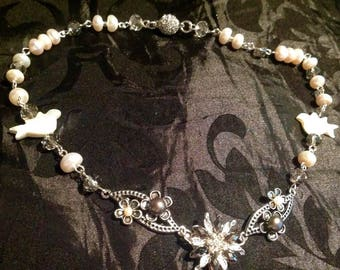 Pearl Doves, Freshwater Pearls and Crystal Flower Necklace..
